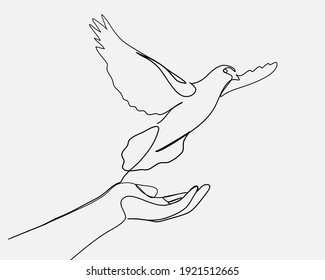 Continuous line, Woman praying and free bird. Drawing of set Hope. (Vector illustration one line drawing)