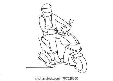 continuous line young man, young girl riding a motorcycle in a helmet. Drawing by hand, black lines on a white background