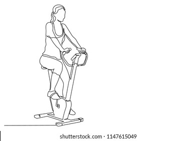 continuous line of young woman on an exercise bike twists the pedals. concept of exercising in gyms, healthy lifestyle, beautiful body. Drawing of thin black line on white background. Sports at home.