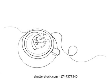 Continuous lines, coffee, latte, art, heart, hand drawn, simple lines, vector illustration