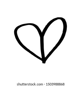 Continuous lines. Funny doodle hearts icons collection. Hand drawn Valentines day, wedding design vector illustration.