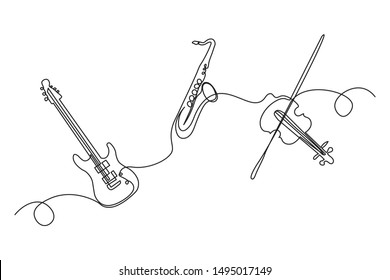 Continuous lines, guitar instruments, instrumental music, simple style, hand-drawn vector illustration