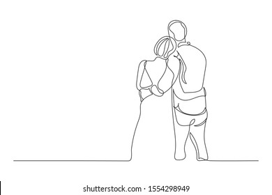 Continuous lines Valentine lovers Hand drawn vector illustration
