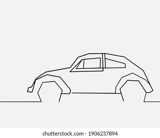 Continuous line(Square), Volkswagen Beetle street.. Drawing of set Car. (Vector illustration one line drawing)