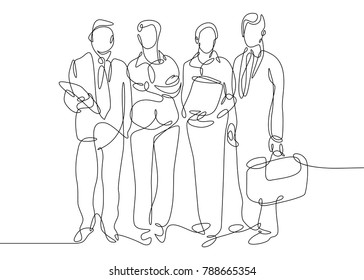 Continuous one drawn line of business team together group portrait. Businessman silhouette concept of success and cohesion in the company.