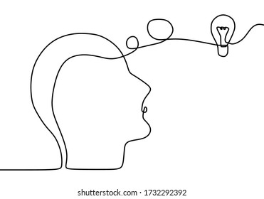 Continuous one drawn line silhouette of a man thinking with light bulb in front of her head. Allegory of solution and creative search. Vector illustration minimalism concept of idea and creativity.