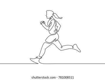 Continuous one drawn line silhouette of running athlete girl runner