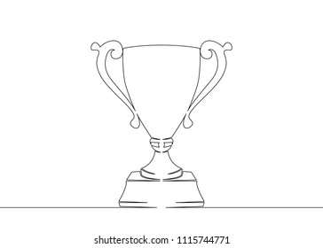 Continuous one drawn single line winning cup. Concept continuous image, winner, champion, cup, trophy, success, win, award, victory, sport, competition.