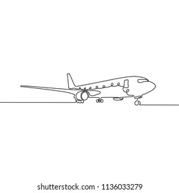 Continuous one line airplane. Vector illustration.