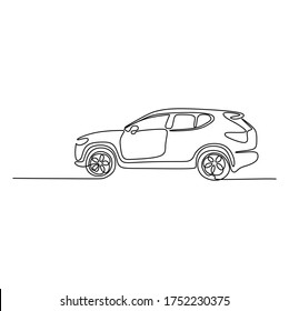 Continuous one line art of a SUV sport car. Vector illustration