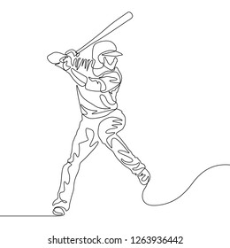 Continuous one line baseball player batter going to hit the ball