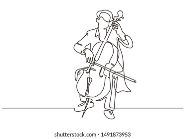 Continuous one line cello music instrument. Person playing classical music instrument. Performance of man with orchestra theme on the stage.