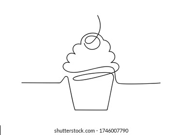 Continuous one line cupcake with cherry and cream. Hand drawing art dessert theme with linear muffin for logo isolated on white background. Simple sketch design. Vector illustration
