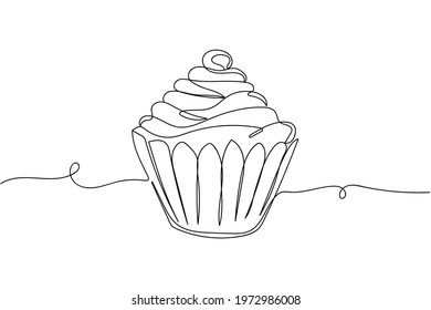 Continuous one line of cupcake in silhouette. Linear stylized. Minimal style. Dessert concept
