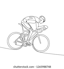 Continuous one line cyclist in helmet riding a bicycle down the slope