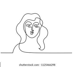 Continuous one line drawing. Abstract portrait of a woman. Vector illustration.