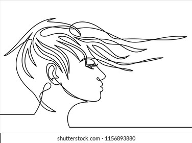 Continuous one line drawing. Abstract portrait of romantic woman face. Vector illustration.