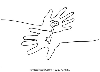 Continuous one line drawing. Abstract hands holding key. Vector illustration