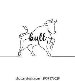 Continuous one line drawing of abstract bull. Minimal style. Perfect for cards, party invitations, posters, stickers, clothing. Creativ animal concept