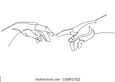 Continuous one line drawing. Adam and God hands. Linear style