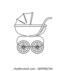 Continuous one line drawing a baby carriage. Vector illustration perfect for greeting cards, party invitations, posters, stickers, clothing. Silhouette of a baby carriage icon.