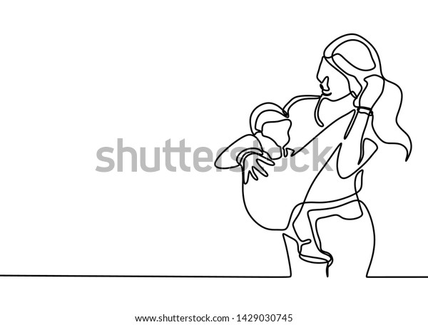 Continuous One Line Drawing Baby Born Stock Vector (Royalty