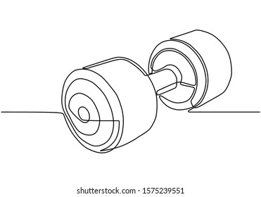 Continuous one line drawing of barbell or dumbbell