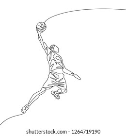 Continuous one line drawing basketball player jumps doing slam dunk. Sport theme