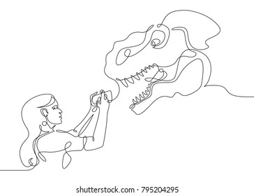 Continuous one  line drawing beautiful girl female tourists selfie dinosaur T-Rex phone device