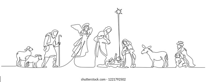 Continuous one line drawing. Bible Merry christmas scene of holy family. Vector illustration