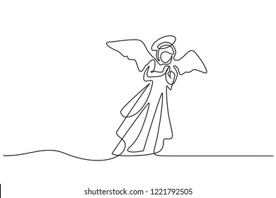 Continuous one line drawing. Bible Merry christmas angel woman. Vector illustration