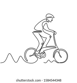 Continuous one line drawing of biker. Person riding bmx, bicycle motocross or bike. Concept of athlete with sport theme design.