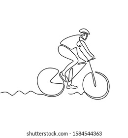 Continuous one line drawing of biker. Person riding bicycle or bike. Concept of athlete with sport theme design.