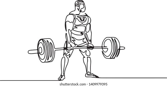 Continuous one line drawing bodybuilder trains powerlifting vector in black and white illustration