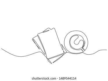 Continuous one line drawing of books and a cup of coffee vector. Minimalist design of education and study hard concept.
