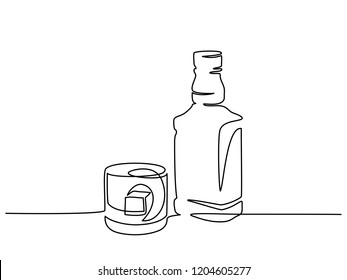 Continuous one line drawing. Bottle and glass of whiskey with ice. Vector illustration