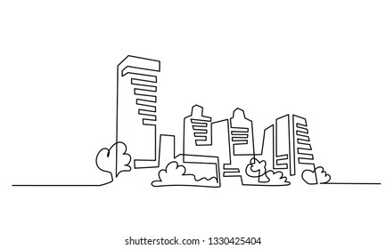 Continuous one line drawing. Building Cityscape Line Art Silhouette. Vector illustration
