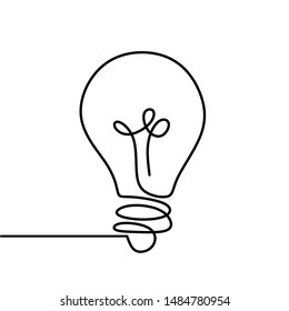 Continuous one line drawing bulb lamp vector illustration minimalism concept