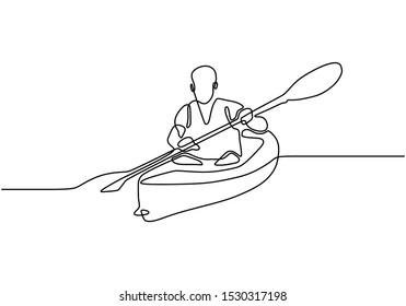 Continuous one line drawing of Canoe sport athlete minimalism design. Vector person on oar boat on the sea.