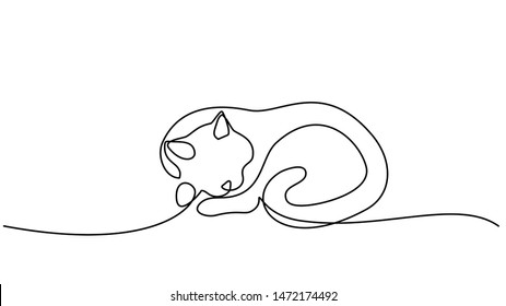 Continuous one line drawing. Cat sleeping with curled tail. Vector illustration