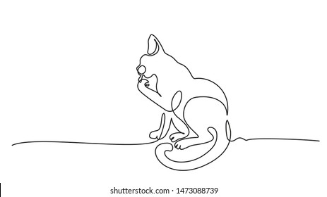 Continuous one line drawing. Cat sitting and cleaning paw. Vector illustration