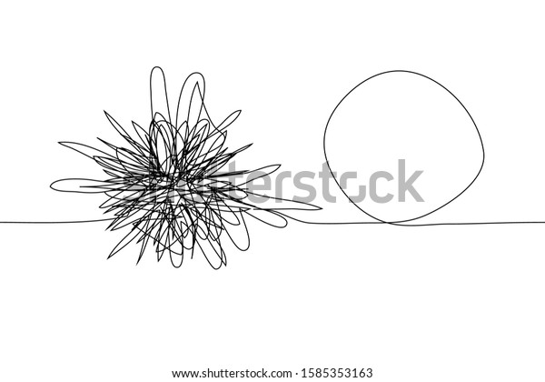 Continuous One Line Drawing Chaotic Tangled Stock Vector Royalty Free 1585353163