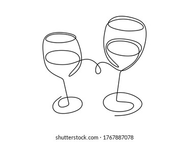 Continuous one line drawing. cheering with glasses of wine or champagne. Minimalism sketch hand drawn isolated on white background. Simplicity line art abstract style.