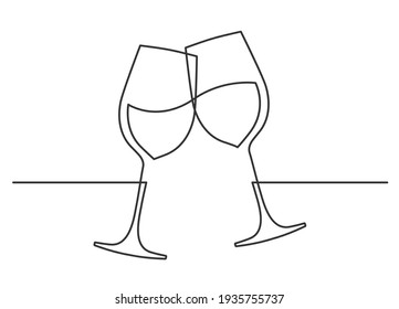 Continuous one line drawing of cheers two wine glasses. Vector illustration