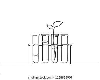 Continuous one line drawing. Chemical lab retorts with sprout plant. Vector illustration