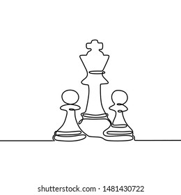 Continuous one line drawing of chess pieces minimalist design isolated on white background. Group of players tactic concept.