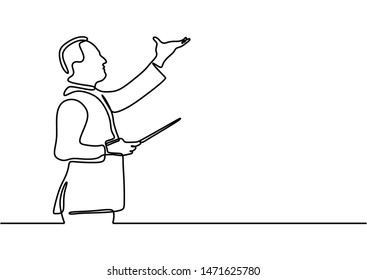 Continuous one line drawing of a classical music leader. Conductor person doing lead gesture and raising hand vector illustration.