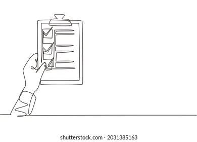 Continuous one line drawing clipboard in hand doctor. Doctor takes notes in clipboard. Medical report background. Patient care check list template. Single line draw design vector graphic illustration