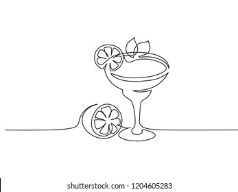 Continuous one line drawing. Cocktail margarita with lime and mint leaf. Vector illustration