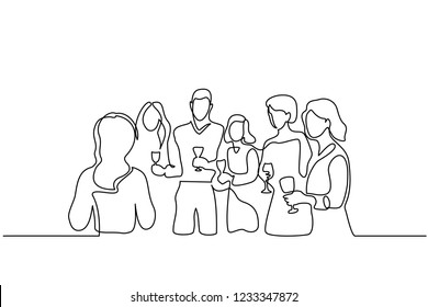 Continuous one line drawing. Company of people celebrates date with wineglasses. Vector illustration for banner, web, design element, template, postcard.